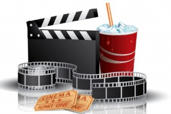 cinema props, film reel, soda, and movie tickets
