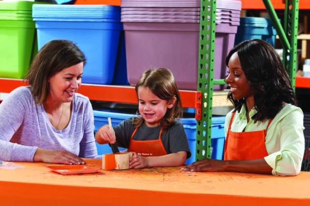 Free kids Workshop at Home Depot-kid painting with parent