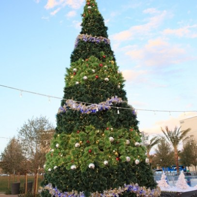 Very tall Christmas Tree decorated in Downtown Summerlin
