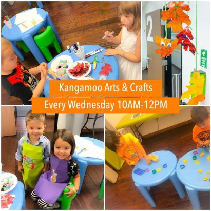 Kangamoo Arts & Crafts poster with children doing crafts