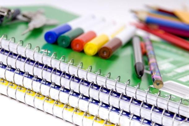 back to school supplies; markers and noteboooks