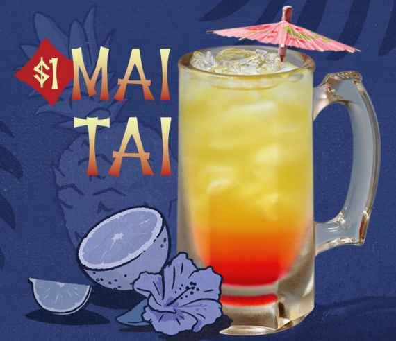 $1 Mai Tai at Applebee's, with picture of yellow and red drink with umbrella