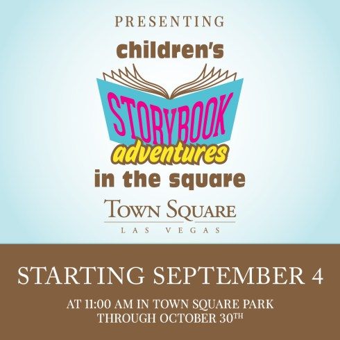 Poster showing Children's Storybook Adventures with a book will begin September 4th