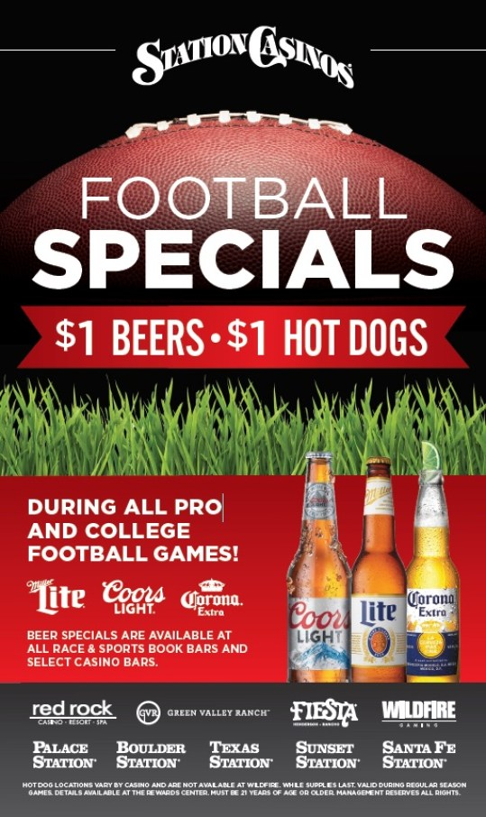 Station Casinos $1 beers $1 hot dogs poster for football specials