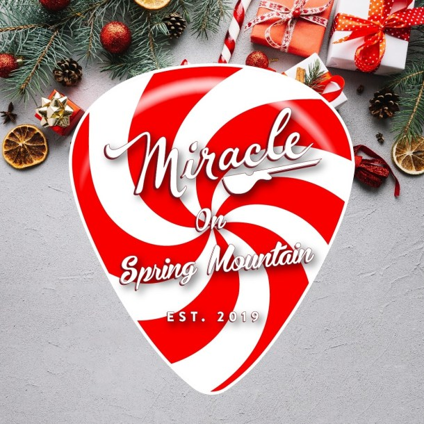Candy Cane guitar pic logo for Miracle Pop-up Bar on Spring Mountain