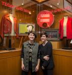 Rock Duo Tegan and Sara pose at new Memorabilia Showcase in Hard Rock Hotel Las Vegas