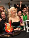 Holly Madison with members of Moksha and Recycled Percussion