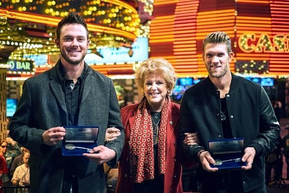 """City of Las Vegas Celebrates """"Native Son"""" Baseball Stars Bryce Harper and Kris Bryant with Keys to the City at Fremont Street Experience"""
