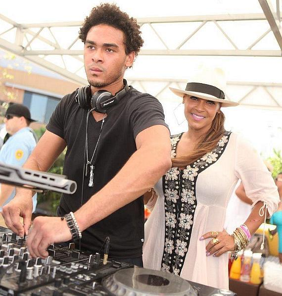 AcE aka Trey Smith Celebrates Independence Day at Palms Pool & Dayclub with his Mother Sheree Fletcher and Girlfriend