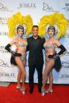 Showgirl Brittany Guinane, director/choreographer Frank Gatson Jr. and showgirl Taryn Olivieri arrive at the 'Jubilee!' show's grand reopening at Ballys Las Vegas