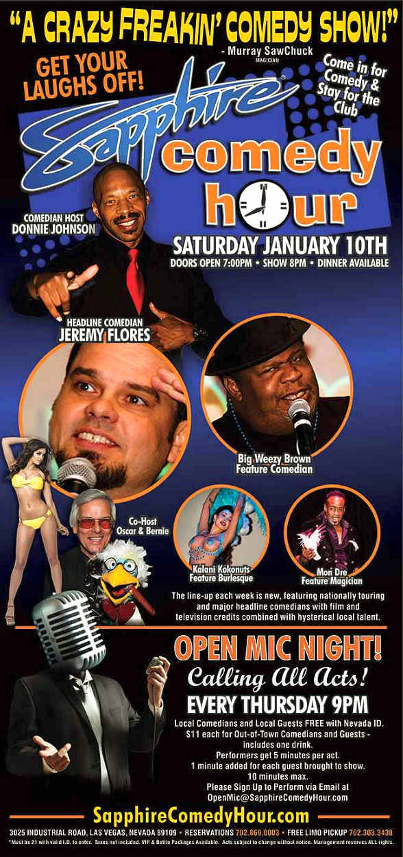 Comedian Jeremy Flores to Headline Sapphire Comedy Hour on Saturday, Jan. 10