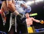 """Canelo Alvarez scored 10th round technical knockout victory over Alfredo """"El Perro"""" Angulo in front of 14,610 fans at the MGM Grand Garden Arena"""