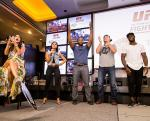 (HI-RES) Rashad Evans hypes up the crowd at the UFC Lip Sync Challenge at Lagasse's Stadium-570