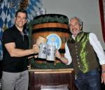 Jeff Civillico and Tony Sinzger tap the first Maibock keg of the season, April 26 at Hofbrauhaus Las Vegas
