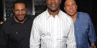 Jerome Bettis, Evander Holyfield and Hines Ward dine at Eva Longoria's Beso Steakhouse in Crystals CityCenter Las Vegas