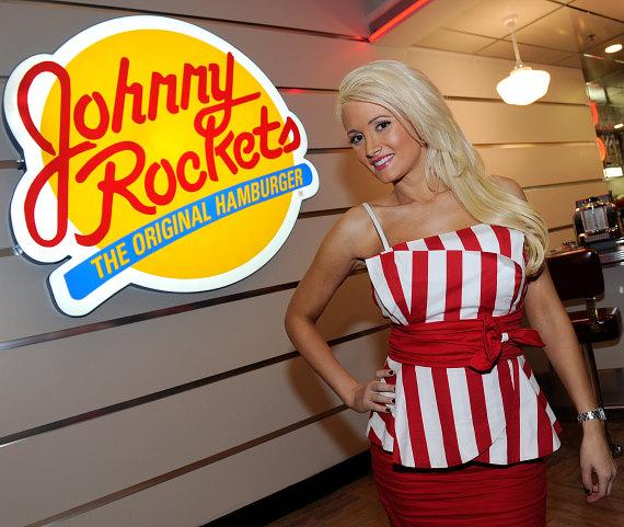 Holly Madison and Bettie Page model Claire Sinclair open Johnny Rockets at the Flamingo