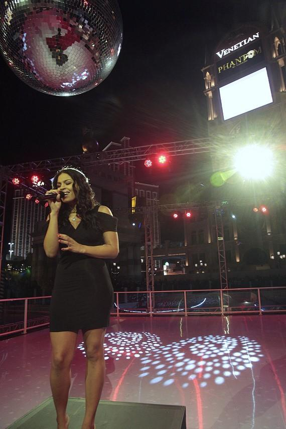 Jordin Sparks joins The Venetian's president and COO, John Caparella, to officially open the ice skating rink