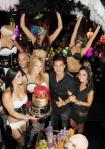 Mario Lopez and Courntey Mazza at Gallery nightclub with the dancers from Pussycat Dolls Burlesque Saloon