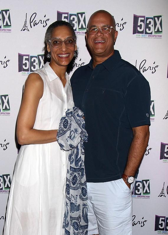 """Carla Hall, Celebrity Chef and Co-host of """"The Chew"""" Celebrates Her Husband's 50th Birthday at the Sexy Co-Ed Cabaret - 53X at Paris Las Vegas"""