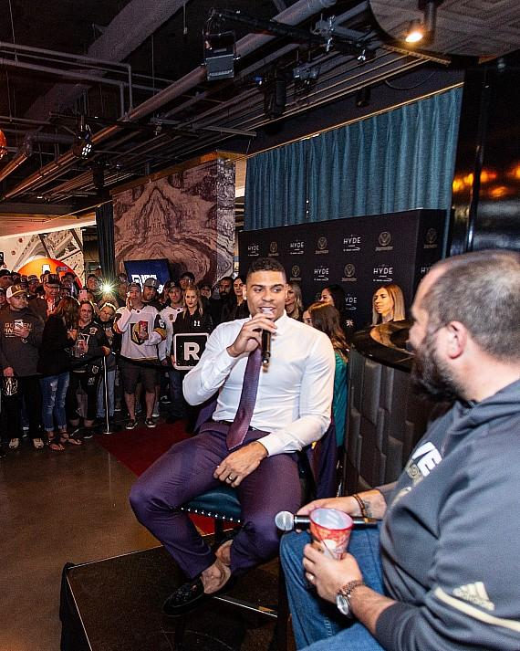 "Ryan Reaves Celebrates at Hyde Lounge at T-Mobile Arena Alongside Deryk Engelland, Bruce Cusick, Carnell Johnson and Wayne ""Big D"" Danielson"