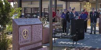 Mayor Debra March and Purple Heart Veterans Chapter 730 Open Purple Heart Plaza in Henderson