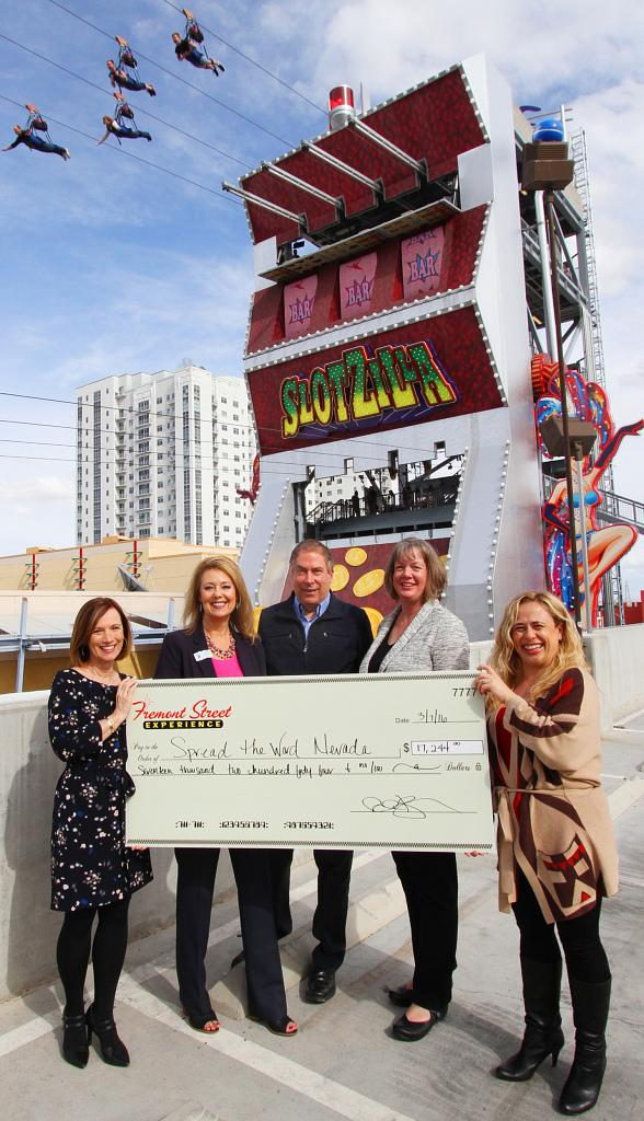 Fremont Street Experience Presents Spread the Word Nevada a Check for $17,244 Raised at SlotZilla