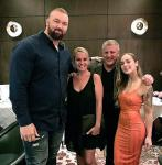 Strongest Man and Game Of Thrones actor Hafthor Bjornsson with wife Kelsey, Casino Owner Derek Stevens and his wife Nicole at Andiamo Las Vegas