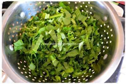 Spinach washed and chopped finely