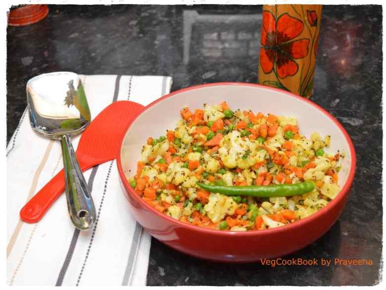 Cauliflower Carrots & Peas Stir Fry