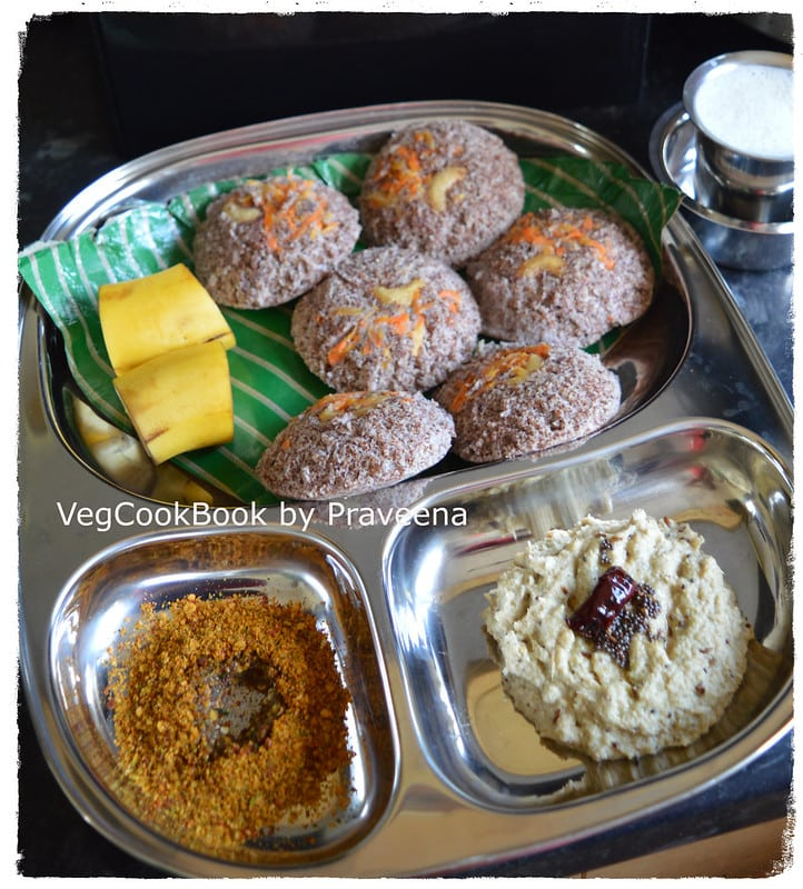 whole ragi / finger millets idli