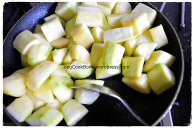 Courgettes/Zuchchini pieces softened after pan frying
