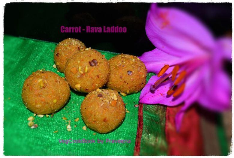carrot rava laddoo / carrot semolina sweet balls