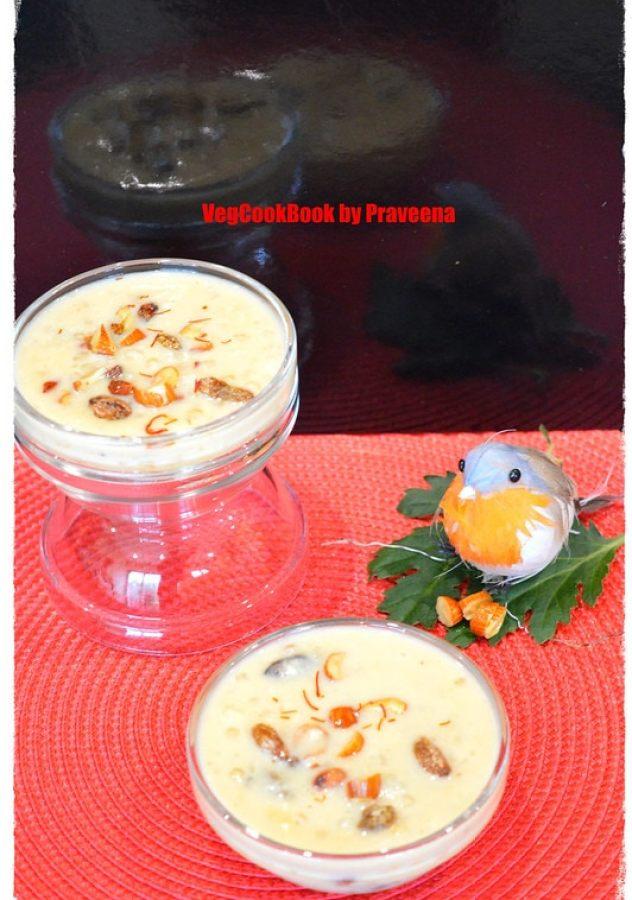 Saggubiyyam Payasam / Sabudana kheer. South Indian style traditional festival dessert, using fresh sago seeds & milk as main ingredients.