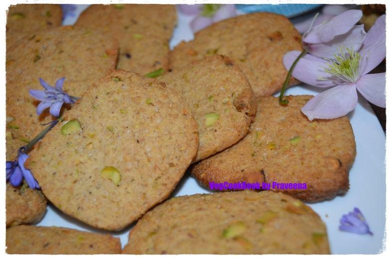 Whole Wheat Pistachio Cookies (Egg Free)
