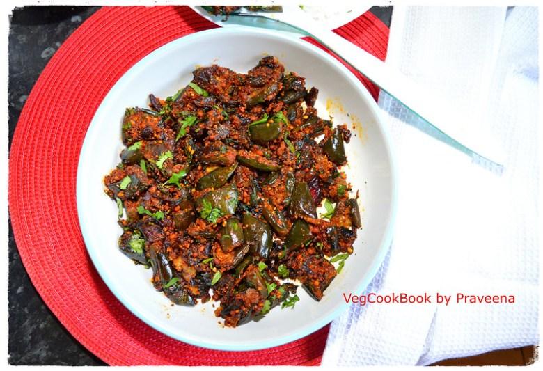 Vankaya Podi Koora / Eggplant Dry Curry