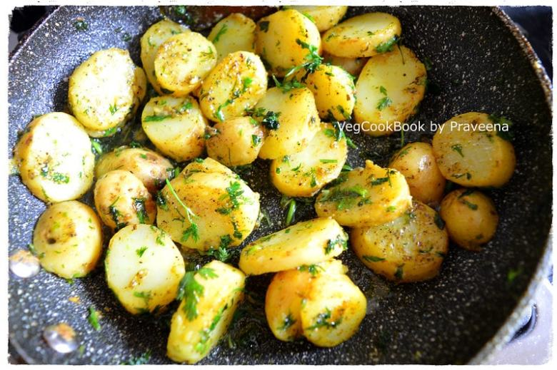 coriander baby potatoes - quick snack
