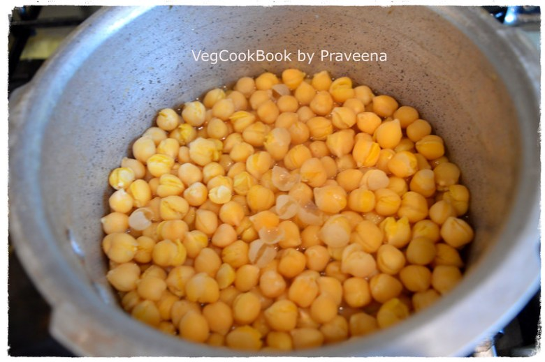 Cooked chickpeas on stove-top