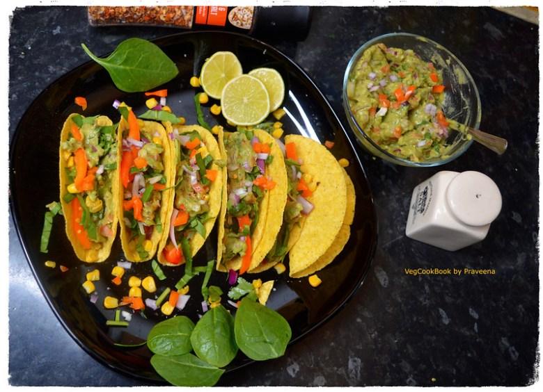 Spinach & Corn Tacos with Guacamole
