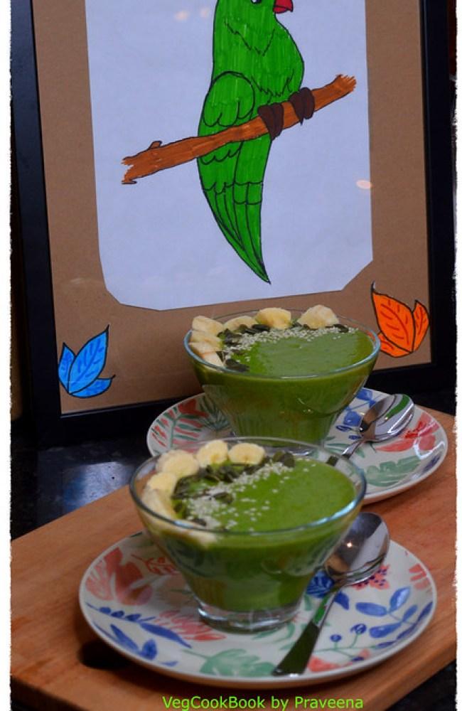 Avocado - Spinach Green Smoothie Bowl