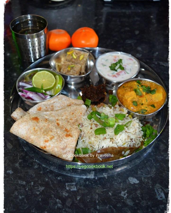 bhojanam / thali / north Indian meal platter