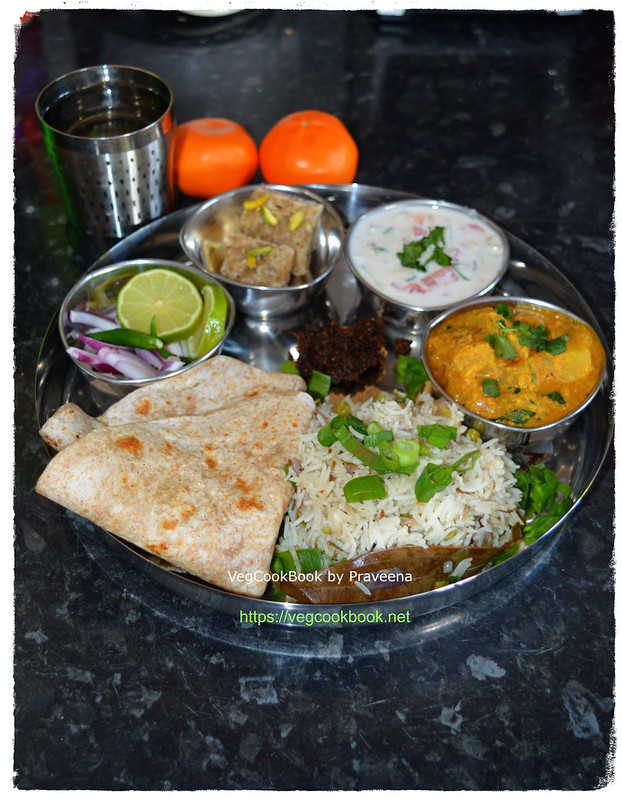 bhojanam / thali / north Indian meal platter