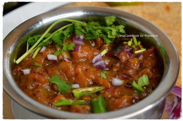 vankaya pulusu pachadi / roasted eggplant stew