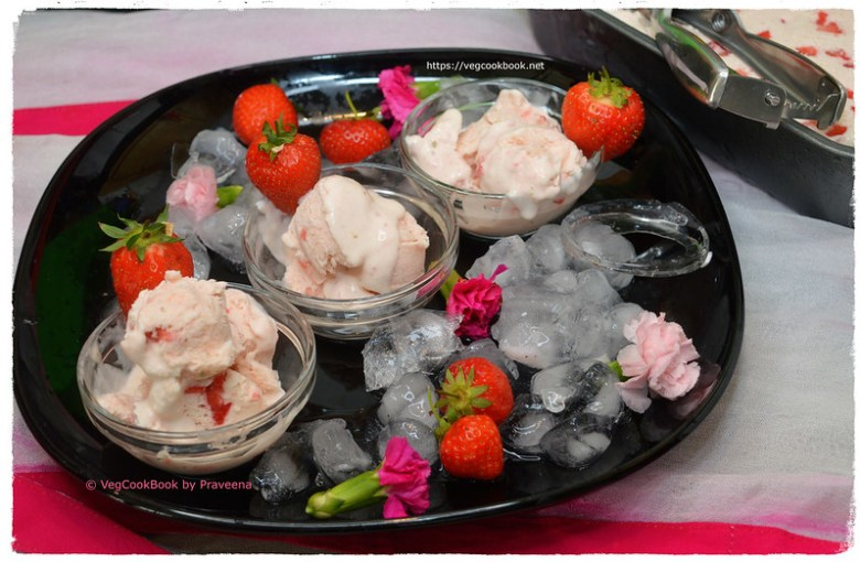 strawberry eggless ice cream without condensed milk