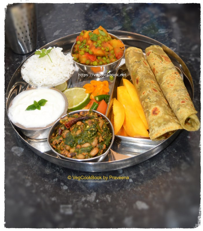 North Indian style No Onion No Garlic Satvik meal platter, on stove top / in an Instant Pot.