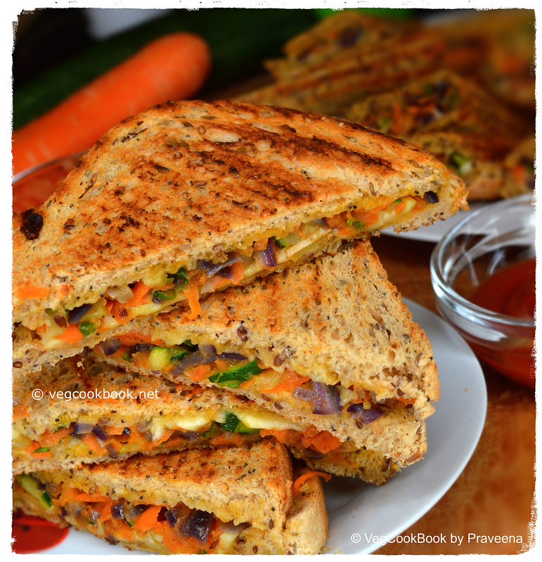 Grilled Zucchini (Courgette) Vegan Sandwich for breakfast / dinner / kids lunch box / travel
