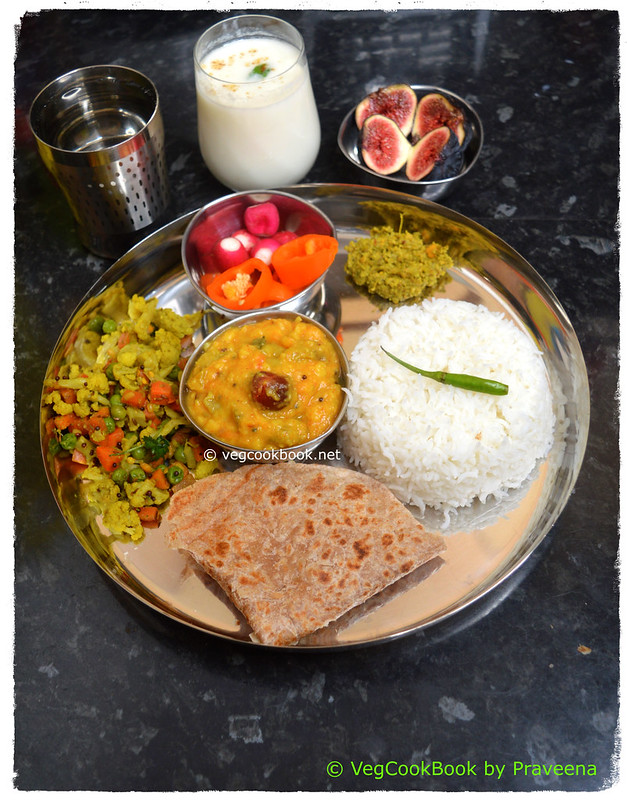 Bhojanam / Thali / Platter #17 South Indian style, No Onion - No Garlic, Simple Vegetarian meal platter, made on stove top / in an Instant Pot Pressure Cooker using Pot In Pot method.