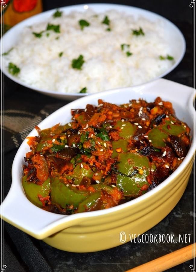 South Indian style, Bell Pepper & Sesame Curry, semi-dry dish recipe, that's Vegan, Gluten free, Rich in Iron and Calcium.