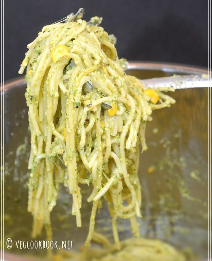 Family friendly, One pot, Quick dinner recipe using freshly homemade pesto sauce. Below are step wise pics & tips for both Stove top & Instant Pot Electric Pressure Cooker Methods.