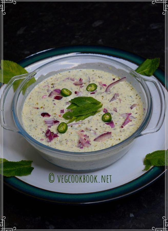 Pudina raita / Mint yogurt dip. Instant, Quick, Easy, 5 ingredient raita / Indian dip for any season. Perfect party recipe with fresh mint.