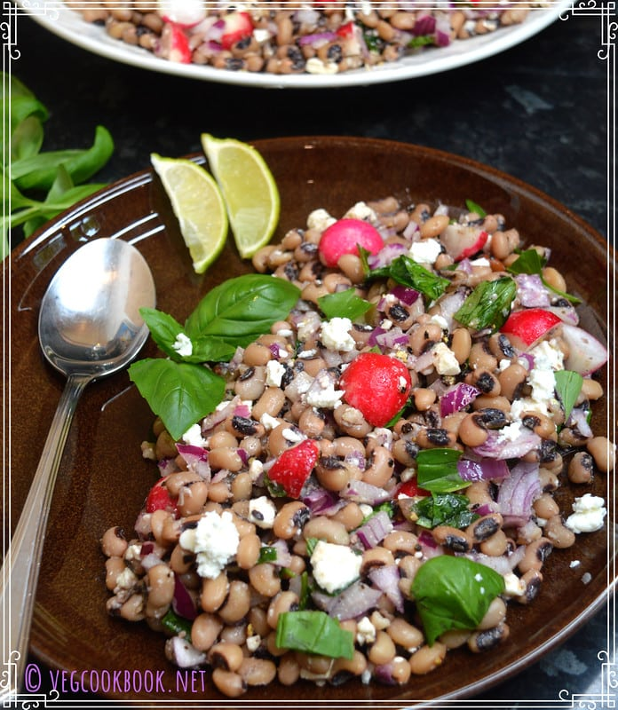 Black Eyed Beans and Basil Salad lobia, easy,quick, with feta, fresh, simple, homemade,plant based, dressing. for vegans, wfpb,diabetic diets.